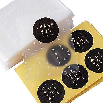 SERWOO 200pcs(8x10+3cm) Bolsas Bolsitas Plástico Pequeñas Autodhesiva Autocierre + 204pcs Pegatinas Thank You para Galletas Caramelos Bombones Regalos ...