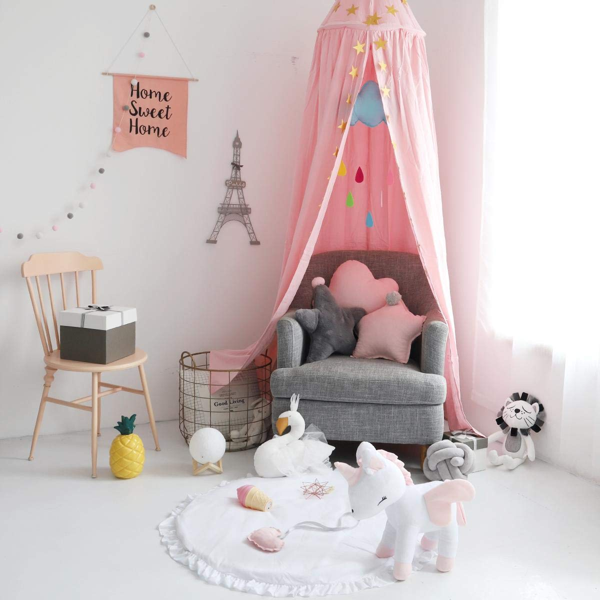 Princess Bed Canopy Mosquito Net Block Out Light Dome for Girls Kids Baby Crib, Castle Play Tent Hanging Over Decoration Nook Reading Furniture, Cotton Canvas, Height-95 inch (Pink) (Princes Pink) Wenscha