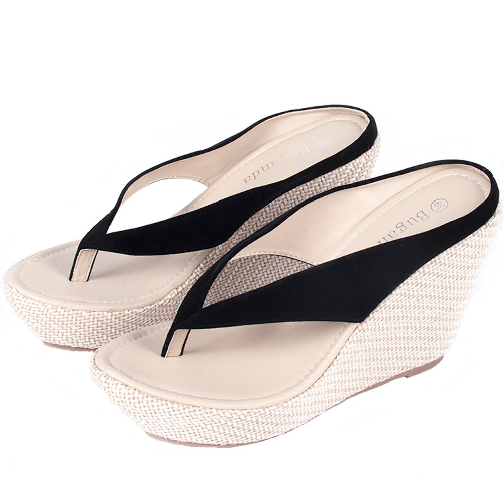 Buganda Women Wedges Sandals High Heels Flip Flops Shoes Summer Casual Style Platform Sandals