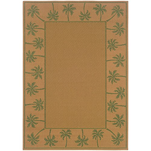 Indoor / Outdoor Rug Washable Beige Tropical Fauna Patio Porch Terrace RV Carpet, 3x5 [2' 5