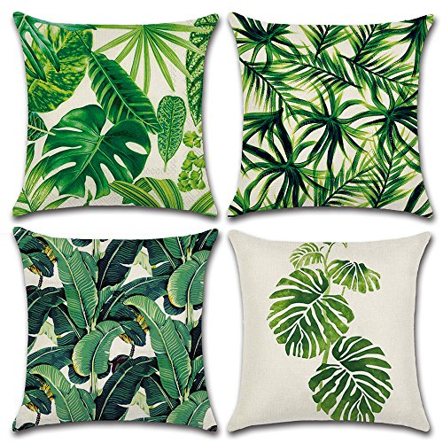 MIULEE Pack of 4 Tropical Leaves Series Throw Pillow Cover Decorative Cotton Linen Burlap Square Outdoor Cushion Cover Pillow Case for Car Sofa Bed Couch 18 x 18 Inch ()