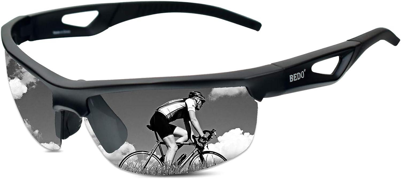 BEDO Mens Cool Sports Sunglasses Youth Bike Glasses Polarized Superlight Frame fishing Cycling Running Tennis baseball