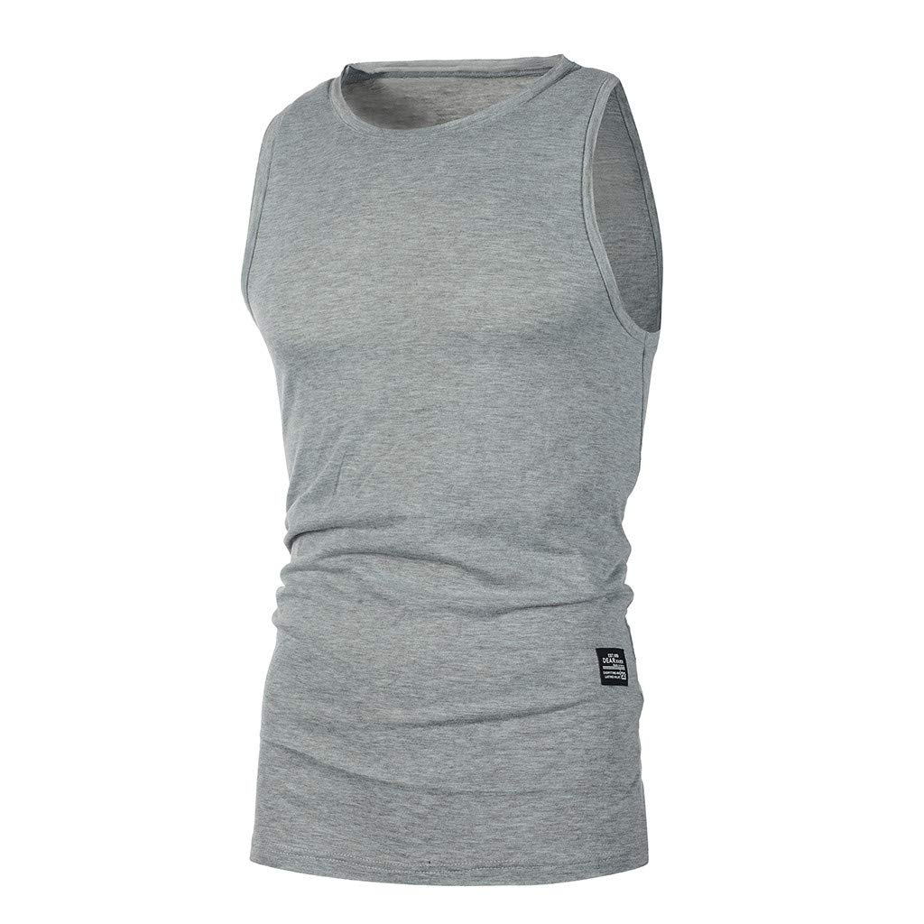 Men Vest,Ronamick Personality Summer Solid Casual Slim Sleeveless Bodybuilding T Shirt Vest Top