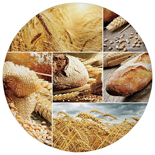 2.95 Ft Round Bathroom Rug,Harvest,Various Stages of Bread Making From Wheat to Final Product Collage Pattern Decorative,Earth Yellow Brown,Flannel Microfiber Non-slip Soft Absorbent Kitchen Floor Bat - Collage Flannel