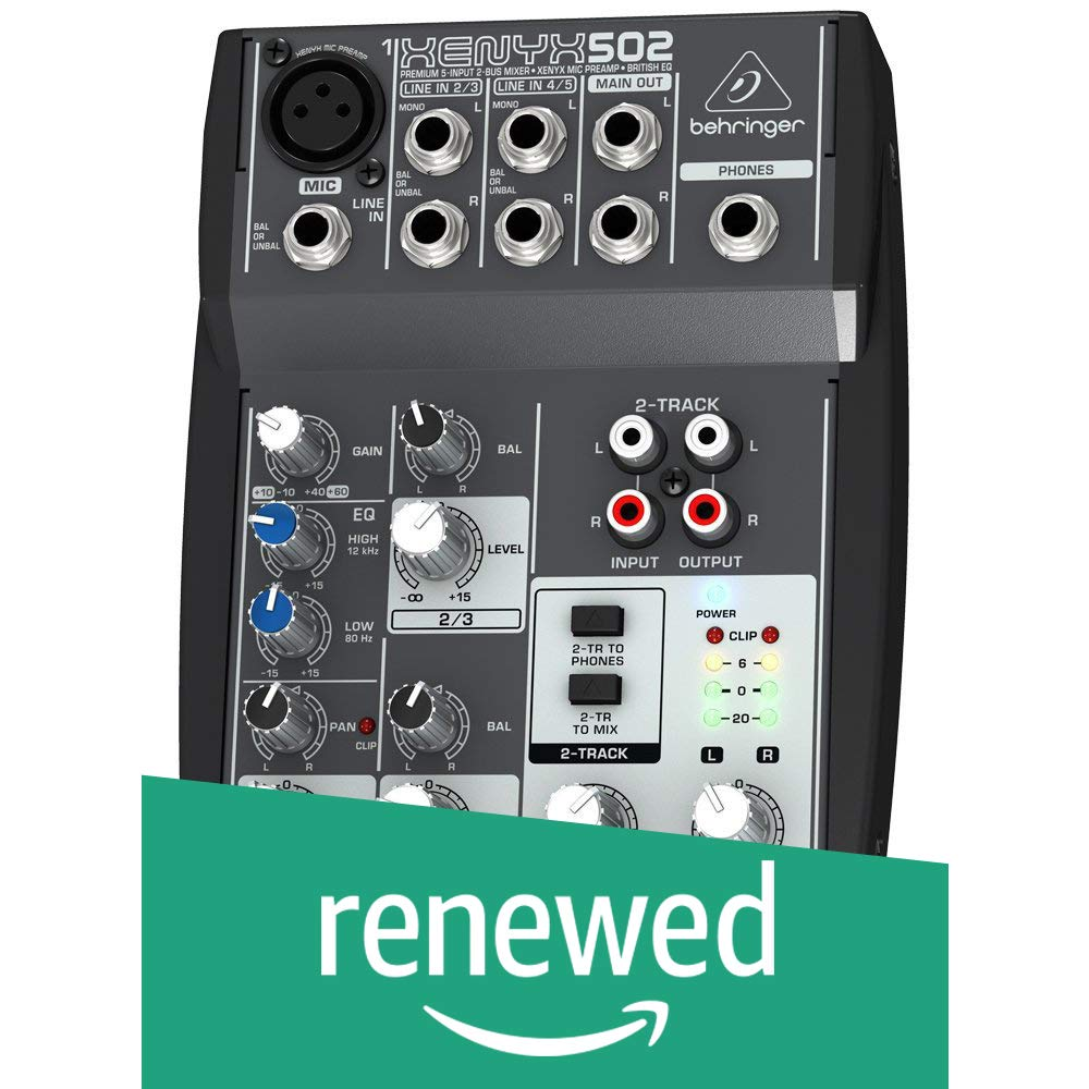 Behringer Xenyx 502 Premium 5-Input 2-Bus Mixer with XENYX Mic Preamp and British EQ (Renewed)