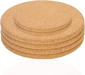 Sonku 6 Pack Cork Coaster Set, Round Brown Absorbent Cork Mat Suitable for Plants Drinks Pans Mugs Glasses DIY Craft-4 Inch,6 Inch