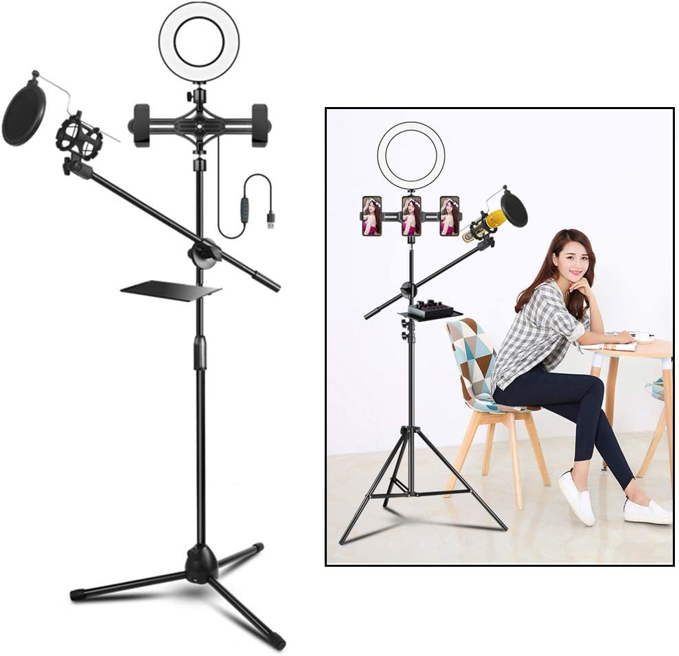 HULYZLB Fill Light Mobile PhoneLED Selfie Ring Light Stand with 2 Cell Phone Holder /& Microphone Holder with Blowout Prevention Net and Shelf for YouTube Video
