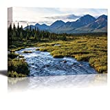 alaska painting - Canvas Prints Wall Art - River in Tundra on Alaska| Modern Home Deoration/Wall Decor Giclee Printing Wrapped Canvas Art Ready to Hang - 24