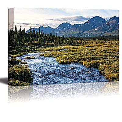 Canvas Prints Wall Art - River in Tundra on Alaska| Modern Home Deoration/Wall Art Giclee Printing Wrapped Canvas Art Ready to Hang - 16