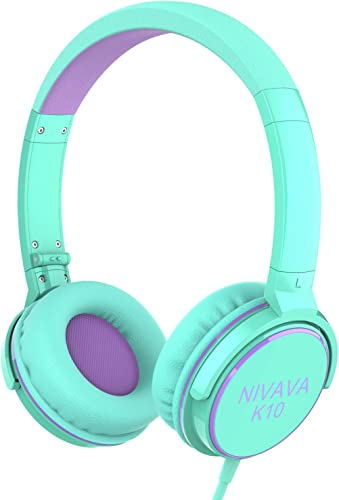 Nivava On Ear Headphones with Mic Wired Foldable Lightweight Adjustable On Ear Headset with 3.5mm Jack for iPad Cellphones Computer Kindle Airplane, K10 Green Purple