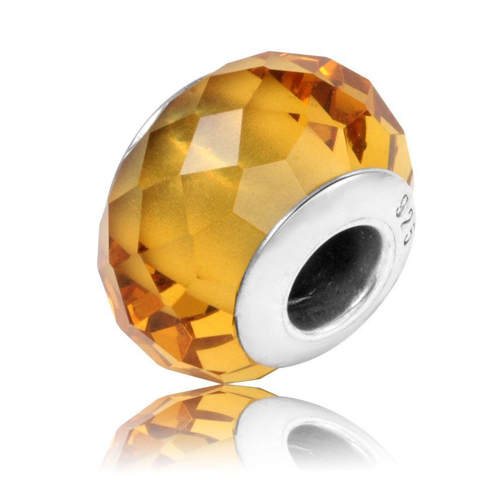 TCharm Genuine Murano Glass 925 Silver Core Faceted Fascinating Iridescence Pure Colour Charms Bead (Citrine-tone)