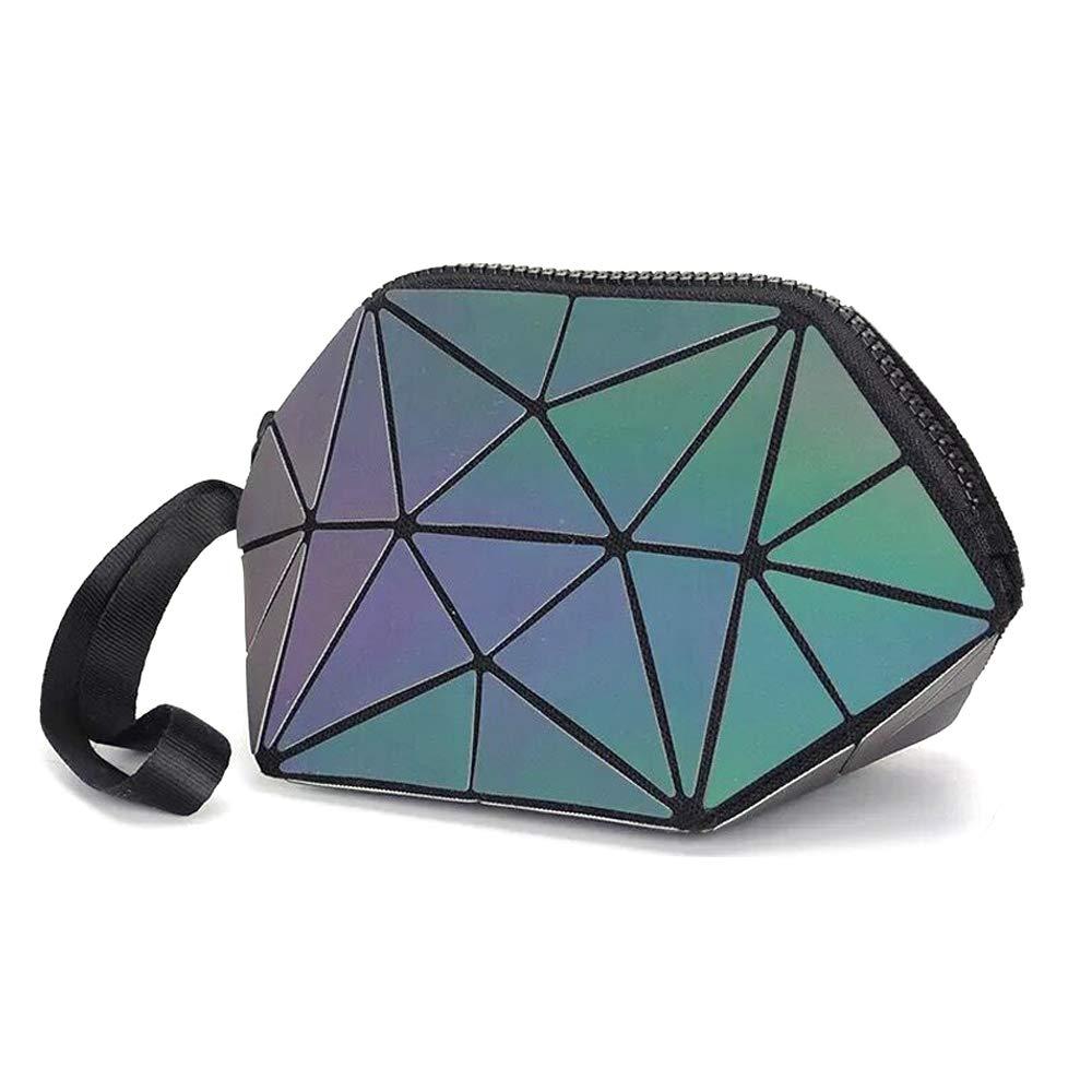 Longjet Holographic Geometric Luminous Purses Foldable Makeup Bag (Black)