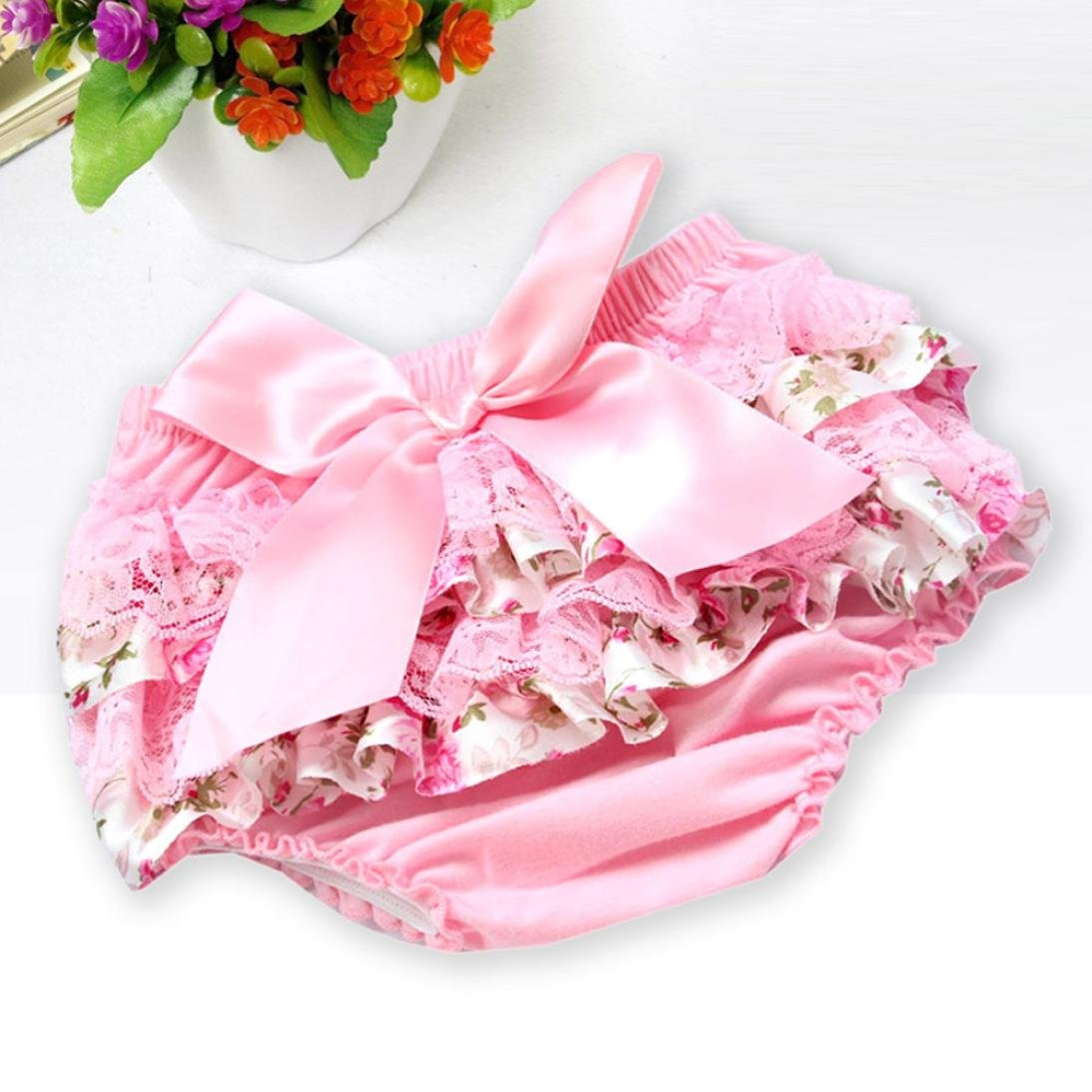 Zerototens Baby Girls Shorts,Newborn Infant Kids Lovely Lace Ruffle Bowknot Bloomer Nappy Panty Diaper Cover Cotton Underwear Pyjamas Casual Short Trousers
