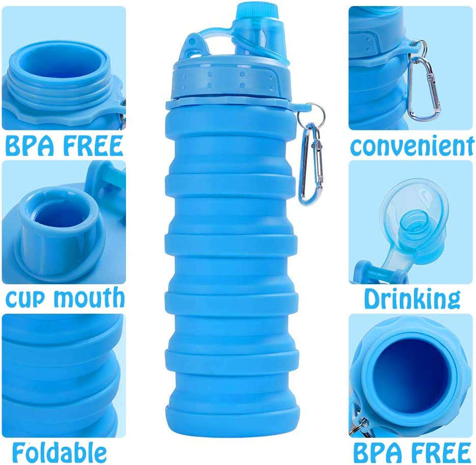 FDA Approved Food-Grade Silicone Collapsible Water Bottle BPA Free Silicone Foldable Travel Water Bottle Set Lightweight Eco-Friendly Water Bottles with Carabiner Designed for Travel Outdoor