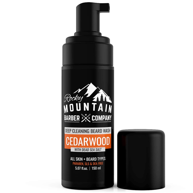 Foaming Cedarwood Beard Wash– Shampoo And Condition Your Beard With Real Essential Oils, Vitamin B5 & Dead Sea Salt – Paraben, SLS, DEA & Silicone-Free -5oz