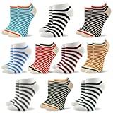 RioRiva Women Fashion Designs No Show Socks - Low cut Cotton Ankle Socks Patterned Style (US Women Size 5-9/EU 35.5-40, WSK121-10 pack Thin Striped)