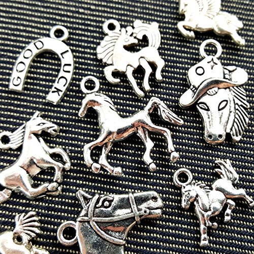 10pcs Mixed Tibetan Silver Plated Animals Horse Deer Dog Charms Pendants Jewelry Making DIY Craft Charm Handmade Crafts (NS554 M026)