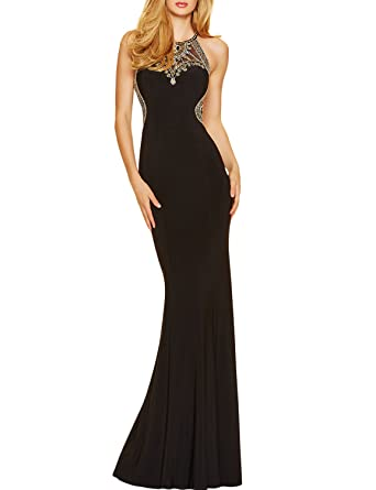 2017 Sheath Prom Dresses Scoop With Beading Floor Length Sexy Ball Gowns Size 0 US Black
