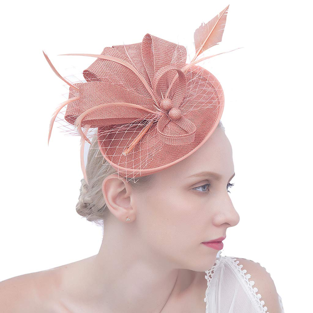 Felizhouse Fascinator Hats for Women Ladies Feather Cocktail Party Hats Bridal Headpieces Kentucky Derby Ascot Fascinator Headband (#2 Cambric Deep Pink)