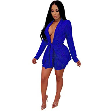 689fbc4d00 Womens Two Piece Outfits Sexy Long Sleeve Plaid Blazer Jacket and Shorts  Set with Belt