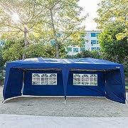 VINGLI 10X20 Feet Pop Up Canopy,Instant Tent,4 Removable Sidewalls,Folding EZ Up Canopy Tent,Patio Event Gazebo Beach Tent,UV Coated&Waterproof, Bonus Wheeled Carry Bag Blue