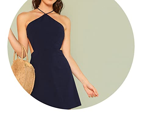 99f4cc72f89eb Trendy-Nicer Women Navy Sleeveless Backless Sexy Club 2018 Summer Party  Strappy Back Zipper Solid Shift Halter at Amazon Women s Clothing store