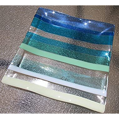 Ocean Beach Glass Plate, Fused Glass Platter, Turquoise Blue Sea Glass Serving Tray, Ocean Waves, Beach Glass Art, Beach House Decor