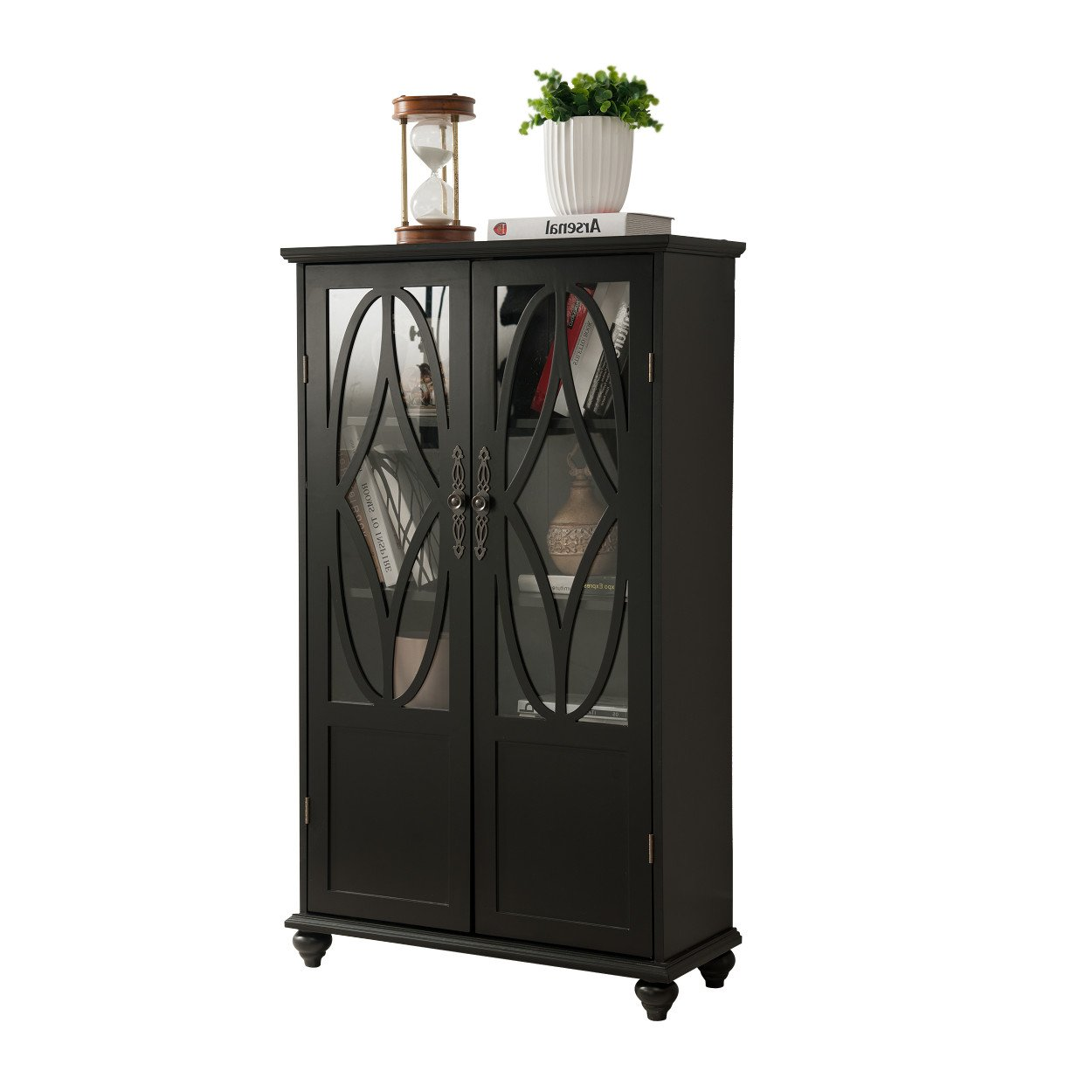 Amazon.com : Black Wood Curio Bookcase Display Storage Cabinet With Glass  Sliding Doors : Office Products