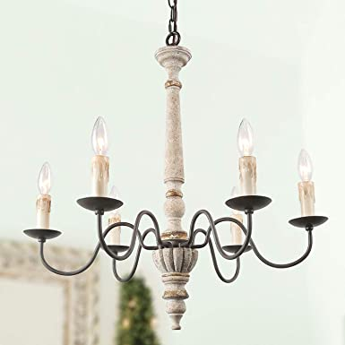 LALUZ Handmade Wood Chandelier, 6-Light French Country Chandelier for Dining Room, Bedroom, Living Room and Bathroom, Rust Finish