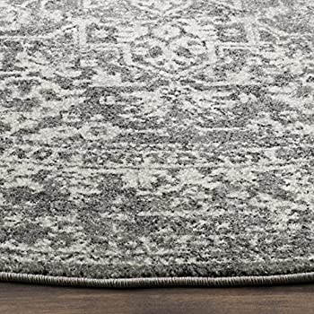 "Safavieh Evoke Collection EVK256D Vintage Oriental Grey and Ivory Round Area Rug (51"" Diameter)"