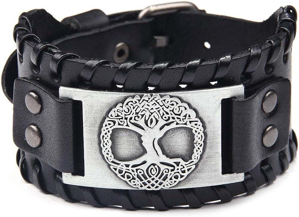 TURTLEDOVE Viking Bracelet Tree of Life - Nordic Bracelet with Yggdrasil Amulet - Pagan Jewelry of Dara Celtic Knot
