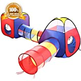 Tech Traders Kids Play Tent ,PoP Up Tent with Tunnel 4 in 1 Pop Up Kids Play Tent Tunnel Ball Pit PlayHouse with 2 Tunnel 2 Tents & Zipper Storage Bag for Boys Girls Babies for Indoor Outdoor Use