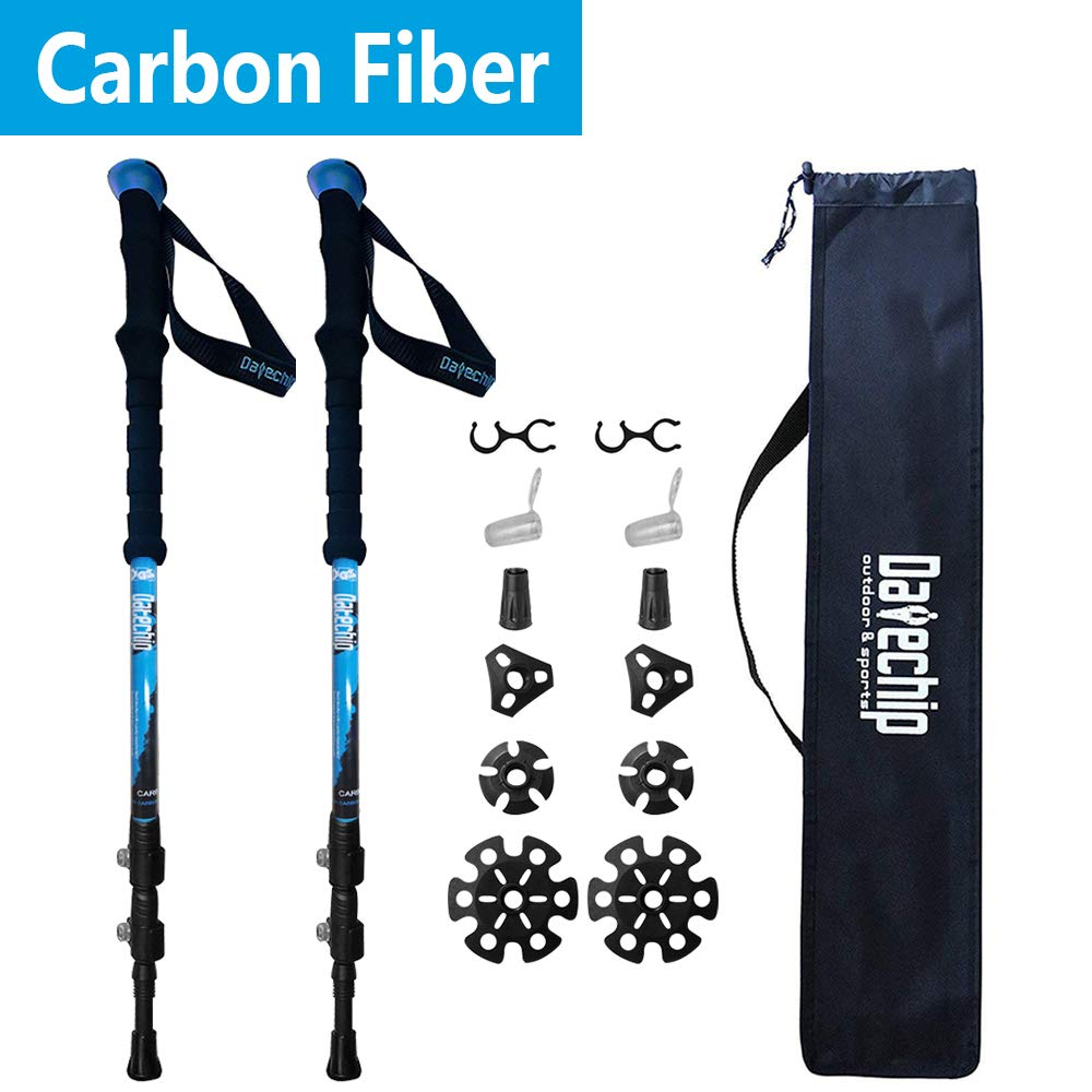 Datechip Trekking Poles, Walking Sticks Collapsible, Lightweight, Shock-Absorbent, 100 Carbon Fiber Hiking Sticks with Flip Lock and Carry Bag for Outdoor Adventure, Walking, Snow, 2 Pack