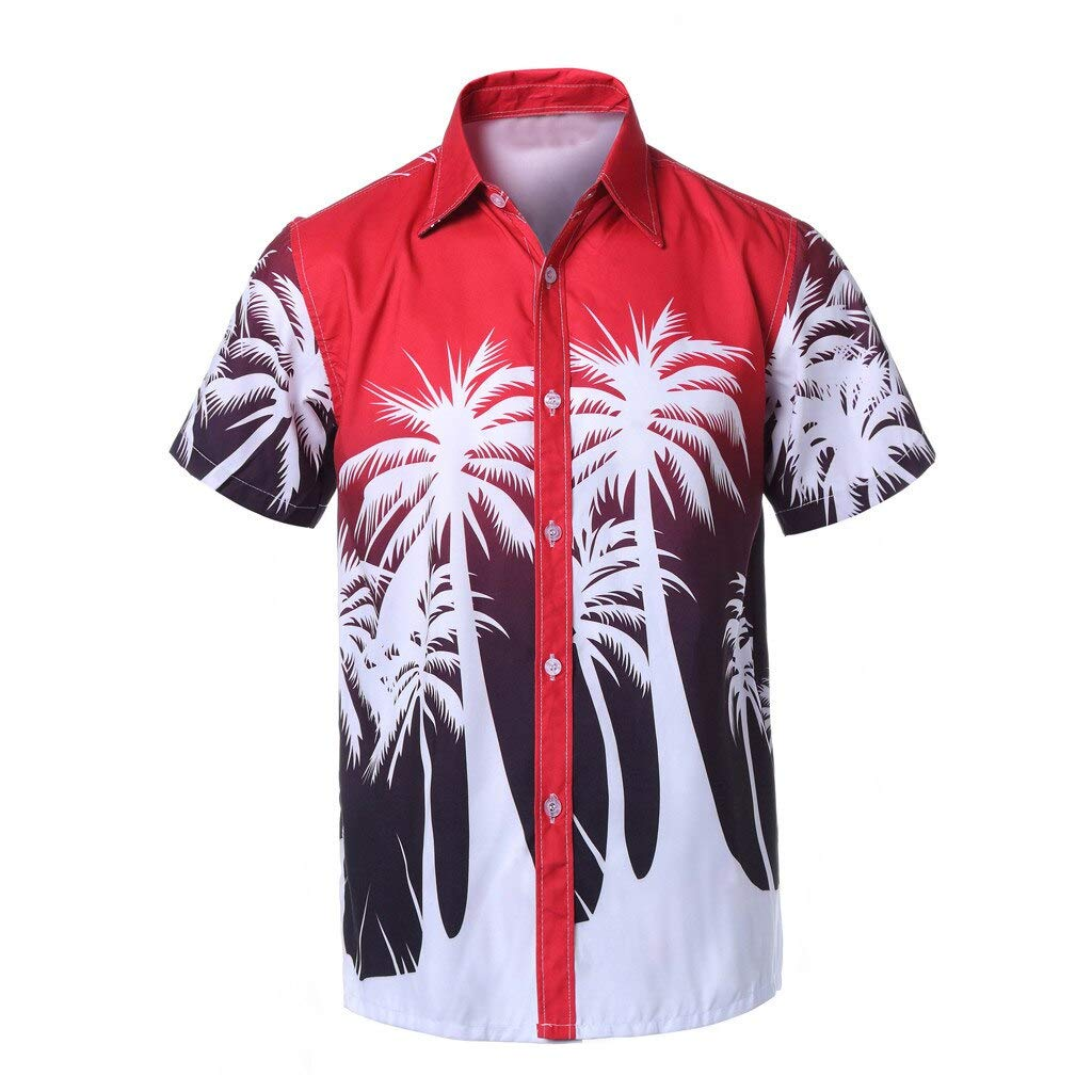 CHENYIHHY Brand Men Blouse Shirt Hawaiian Print Short Sleeve Sports Beach Quick Dry Blouse Top Male Clothing