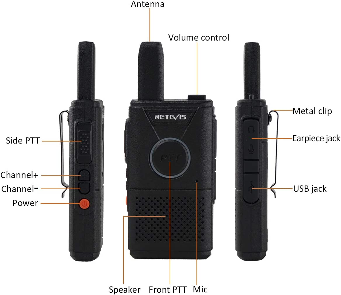 Retevis RT18 Walkie Talkies Rechargeable 16 Channel Dual PTT VOX Super Thin Small 2 Way Radios 2 Pack
