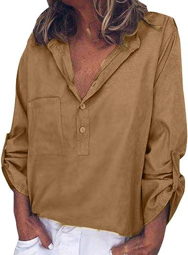 Camisas Mujer Blusa de Seda Bolsillo Delantero Manga Larga ...