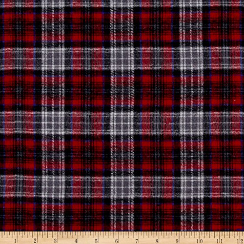Richland Textiles Yarn Dyed Flannel Plaid Red Gray Fabric By The Yard (Shirt Flannel 5 Oz)