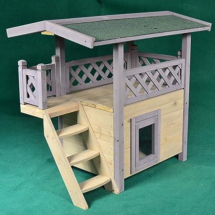 Casa de campo de madera para gatos al aire libre, condominio ...