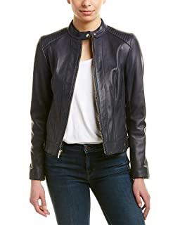 661538e81aad6 Cole Haan Women s Jewel Neck Quilted Leather Jacket at Amazon ...