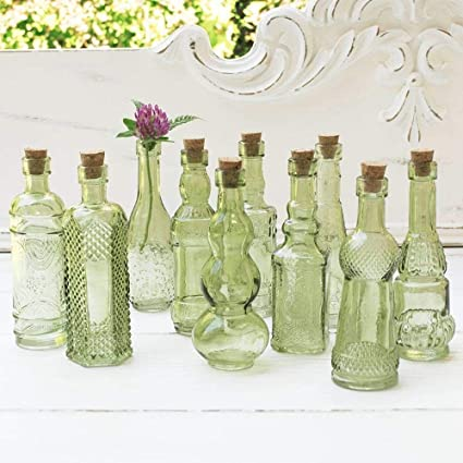 Amazon Vintage Glass Bottles With Corks Bud Vases Assorted