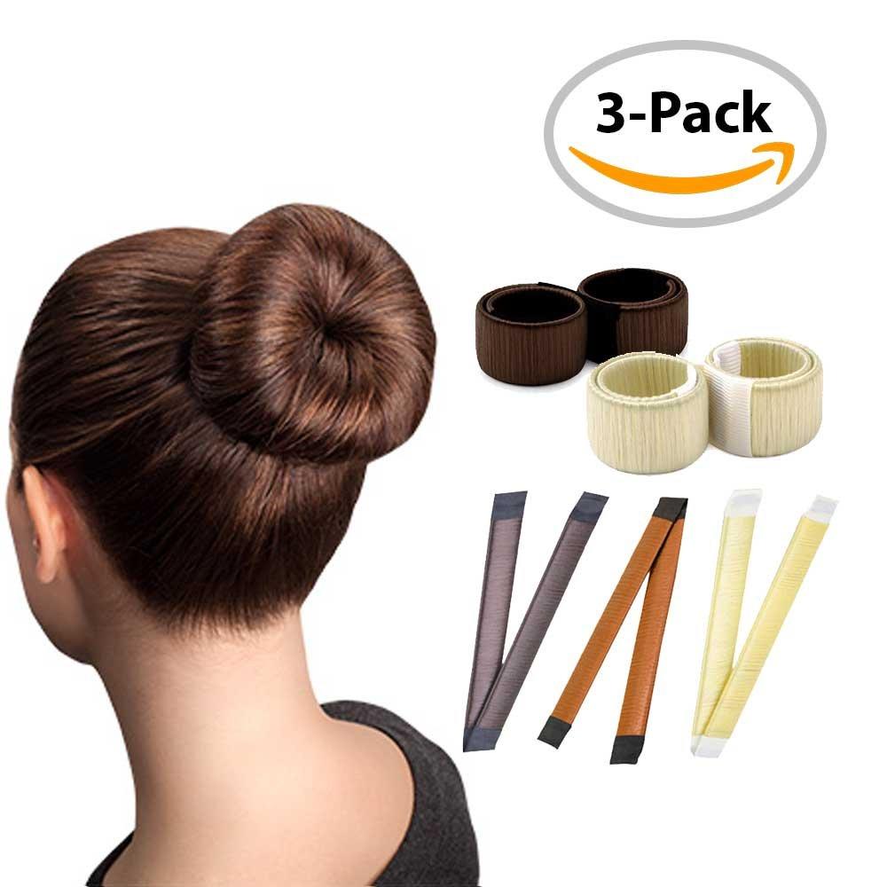 Magic Hair Bun Maker/3 PACK/Multi Colors/Perfect Hair Bun Making Tool/Donut Bun DIY Hair Styling/Hair Bun Shaper/Ballet Hair Bun by HAWWWY