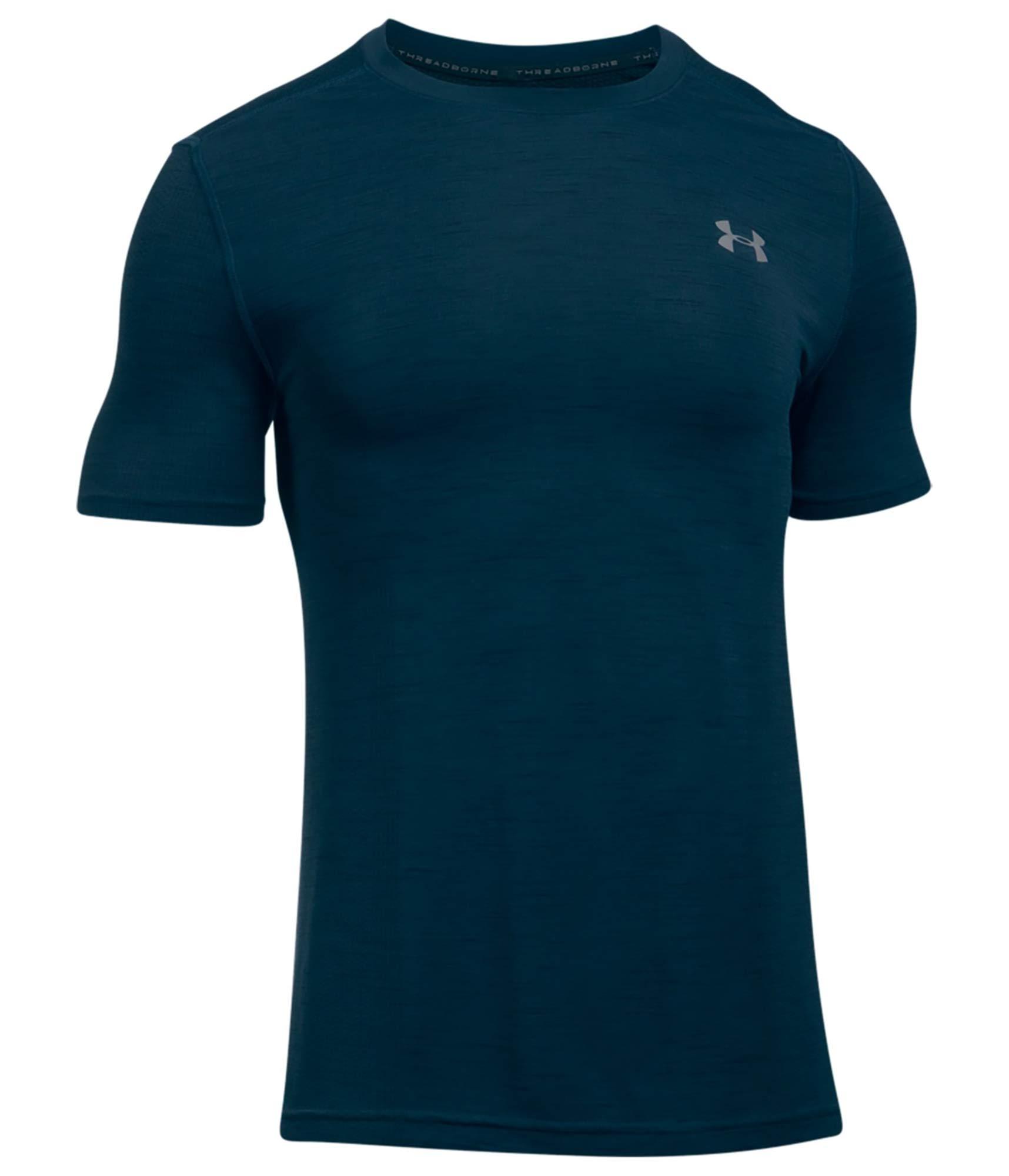 Under Armour Mens Threadborne Seamless T-Shirt,True Ink /Anthracite, Small