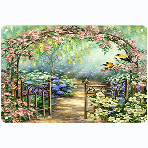 CoolMailboxicoveriw Fairy Tale Floral Arch in Bird and Butterfly Garden Metal Sign Patriotic Home Decor Garage Shop Office Man Cave America Accessories Gifts for Men]()
