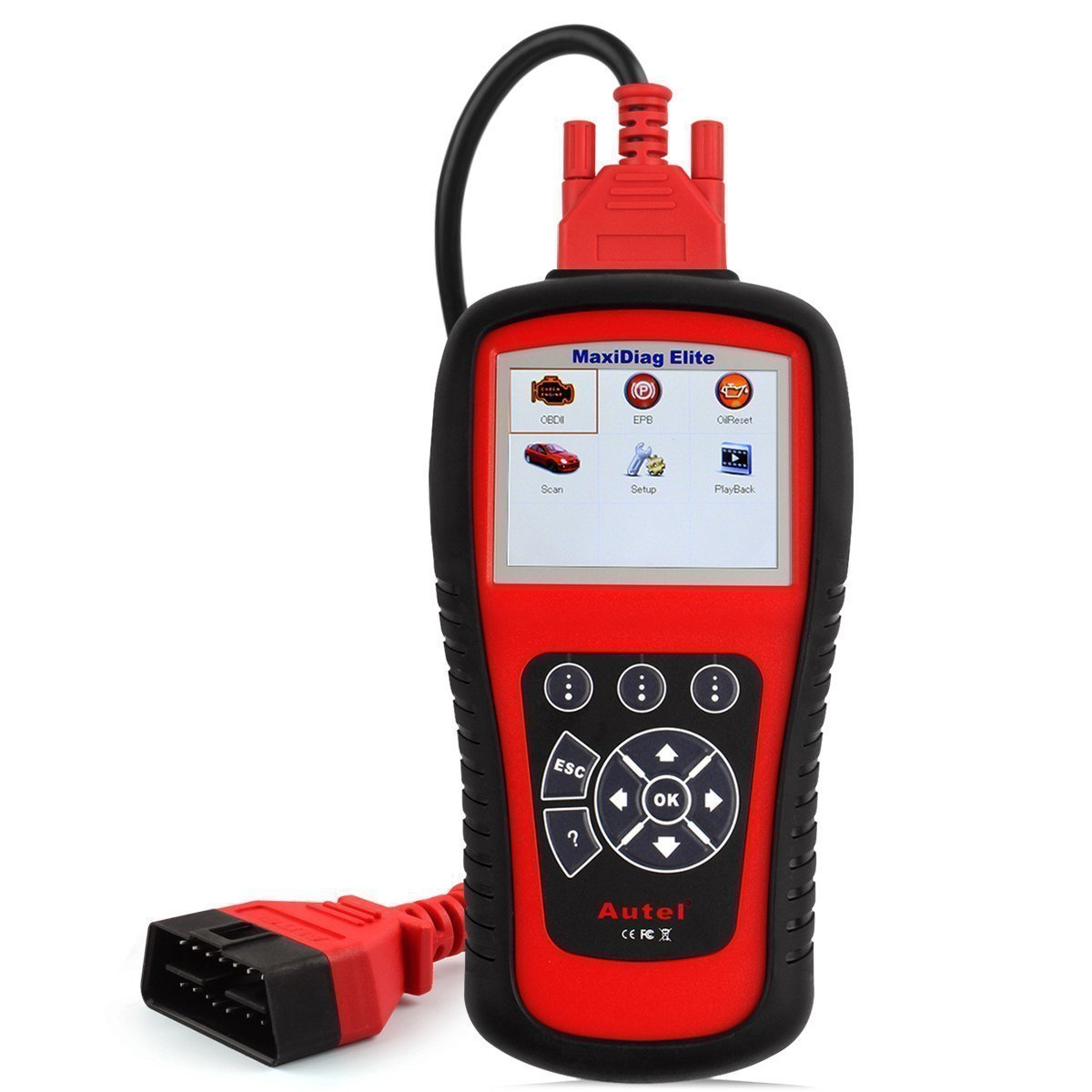 Autel Professional Scan Tool MaxiDiag Elite MD802, OBD2 Car Code Reader for All Systems, Car Diagnostic Scanner for All Electronic Modules (Engine, Transmission, ABS, Airbag), EPB, Oil Service