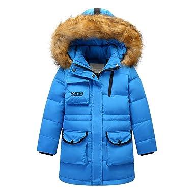 G Kids Kinder Daunenjacke Winterjacke Mantel mit Fellkapuze Mädchen Junge Verdickte Lange Warm Steppjacke Wintermantel Praka Trenchcoat