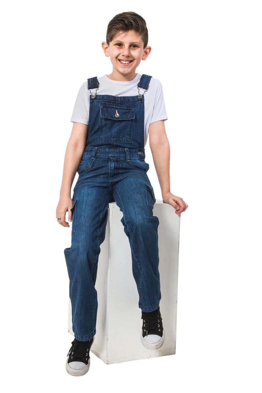 USKEES Benjamin Kids Darkwash Denim Overalls Age 4-14 Children's Cargo Pocket