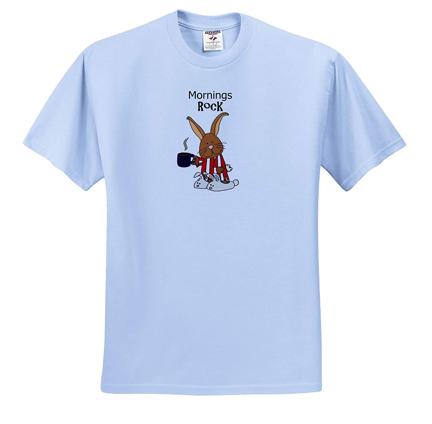 Funny Brown Bunny Rabbit in Striped Nightgown and Bunny Slippers 3dRose All Smiles Art T-Shirts Animals