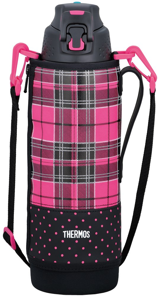 Thermos vacuum insulation sports bottle [one-touch open type] 1.5L Pink Check FFZ-1501F P-CH