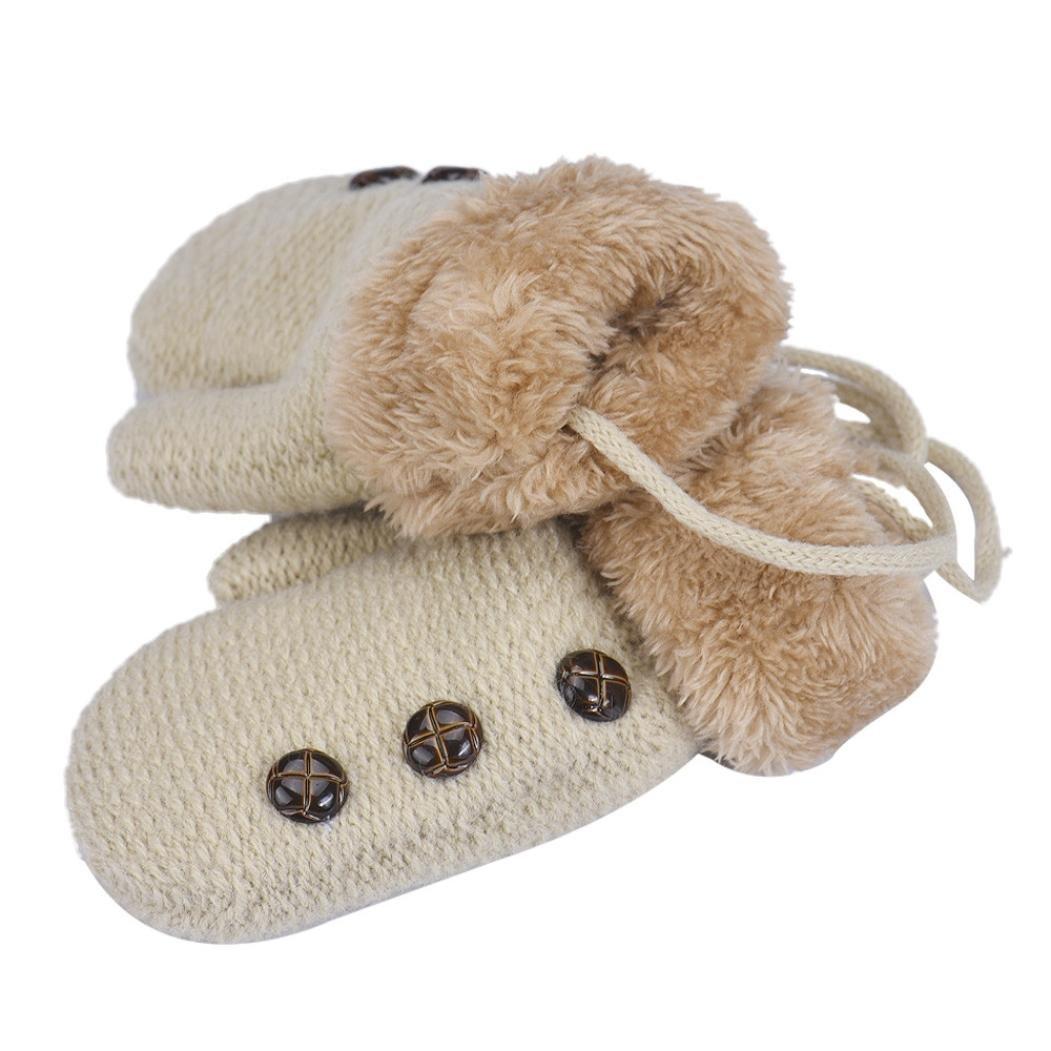 Muium Toddler Baby Boys Leaf Girls Of Cartoon Winter Warm Gloves For 0-12 Months