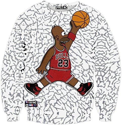 Pizoff Unisex Hip Hop Sweatshirts mit 3D Digital Print 3D Muster baskETBALL 23 Y1759-L8-S